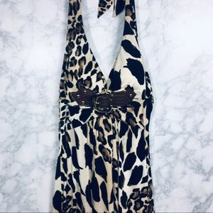 Cache Animal Print Leopard Halter Dress